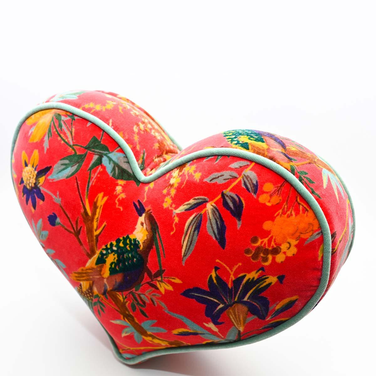 Large Heart Pillow – Bird Motif on Red