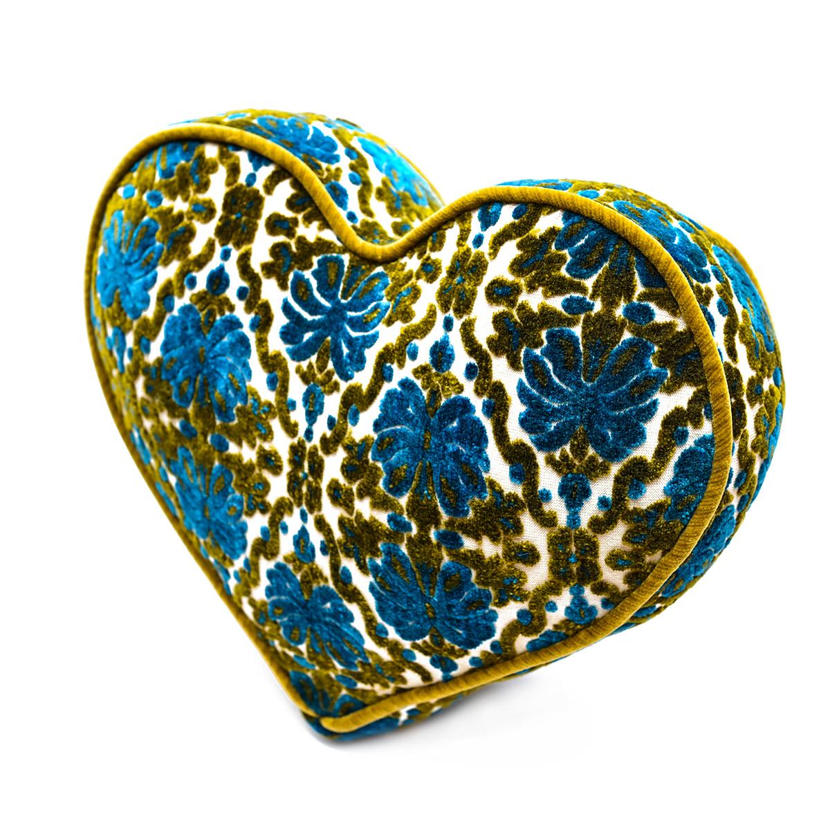 Large Heart Pillow – Blue-Green Victorian
