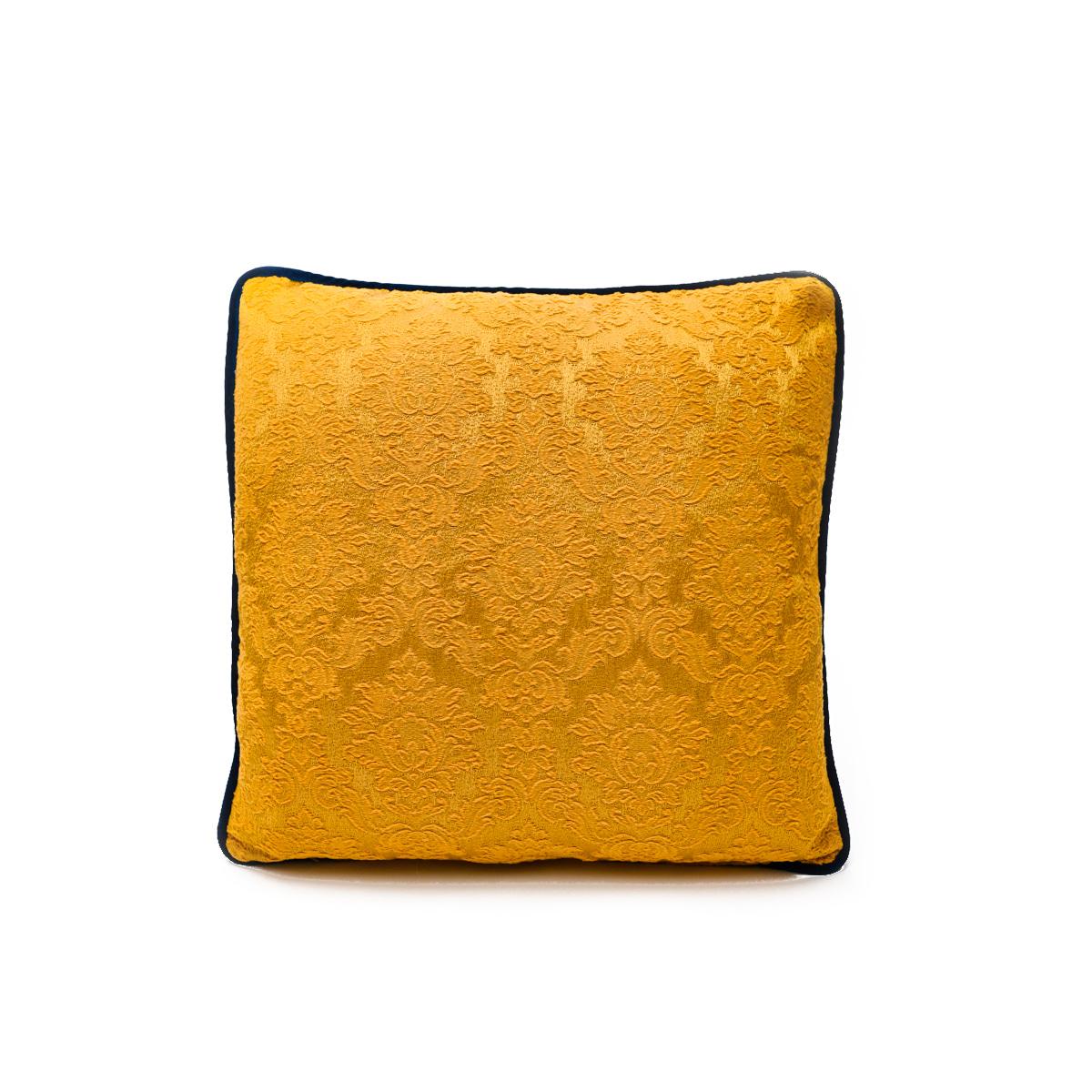 Floral Motif on Yellow – Single Pillow, – 19″ x 19″