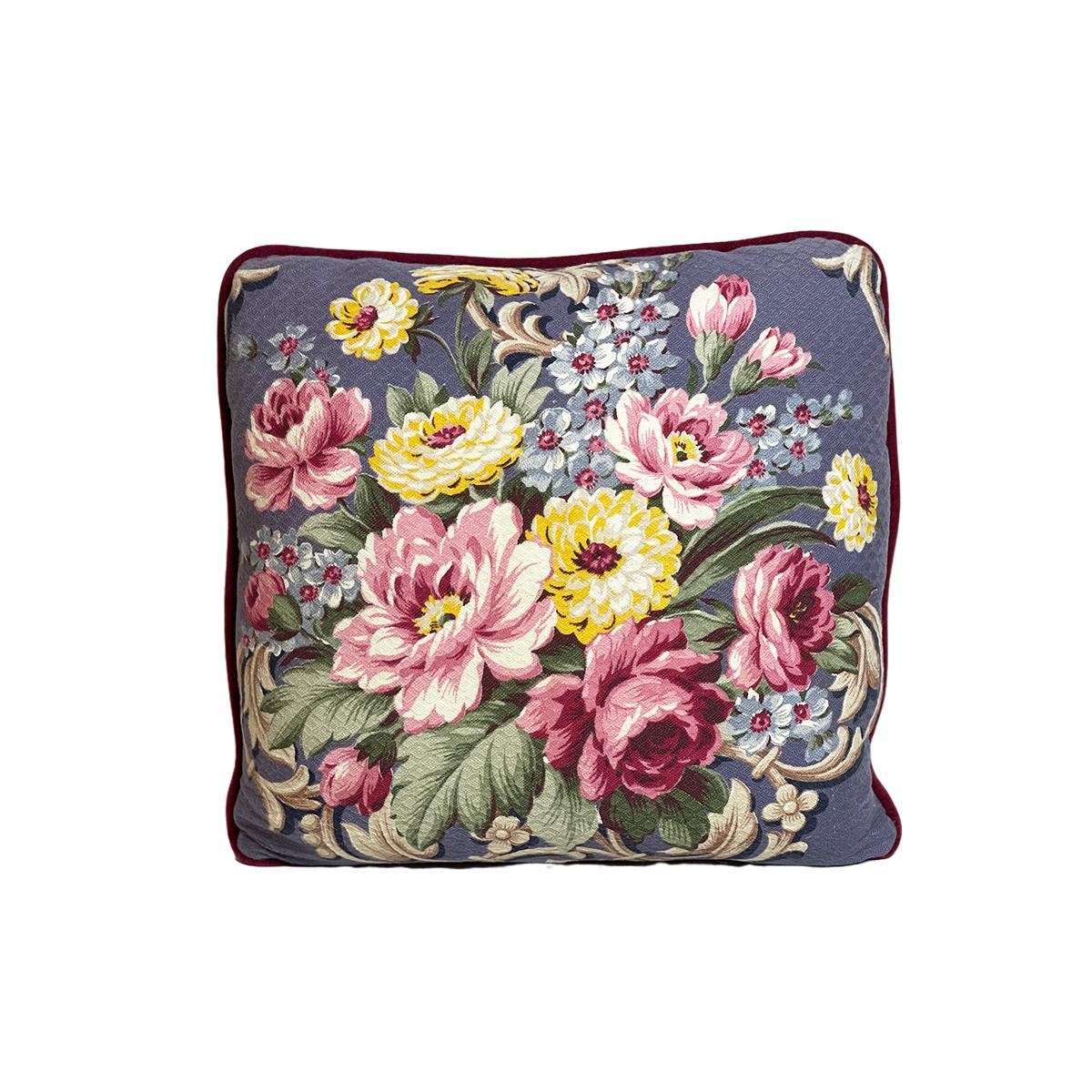 "Floral Motif on Lavender – Single Pillow, Pair available  – 18"" x 18"""